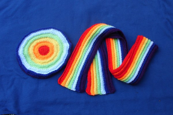 Rainbow scarf and beret