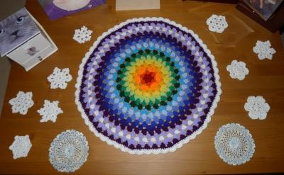 Snowflakes on coffee table