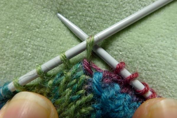 Right needle in stitch