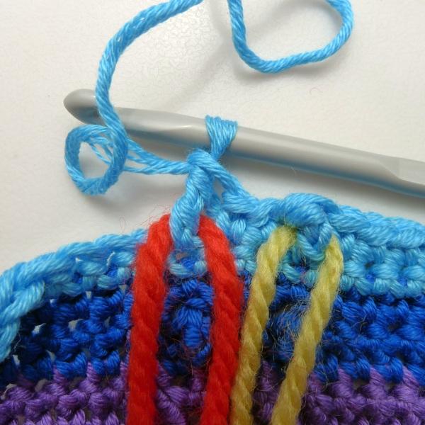 Yarn threaded through