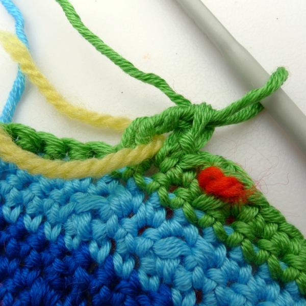Yarn threaded other side