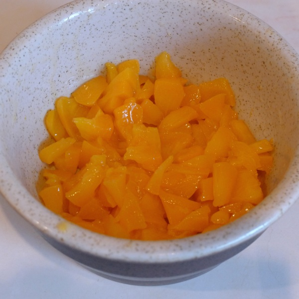 Peach halves chopped