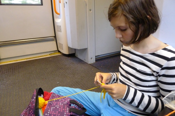 Crochet on floor of train