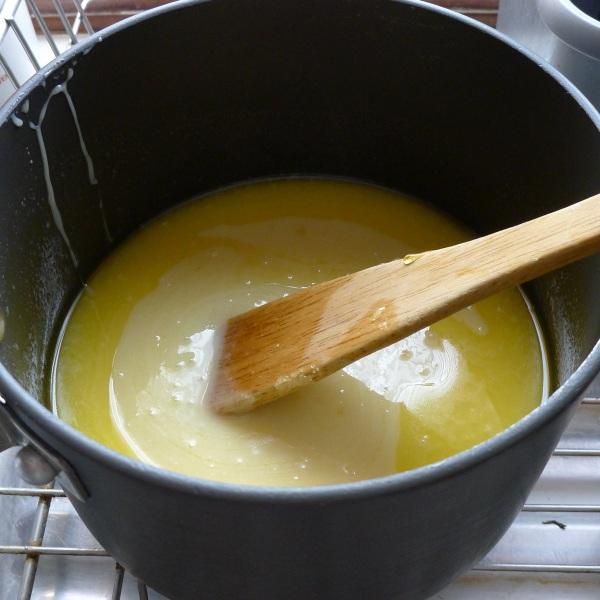 Caramel ingredients in pan