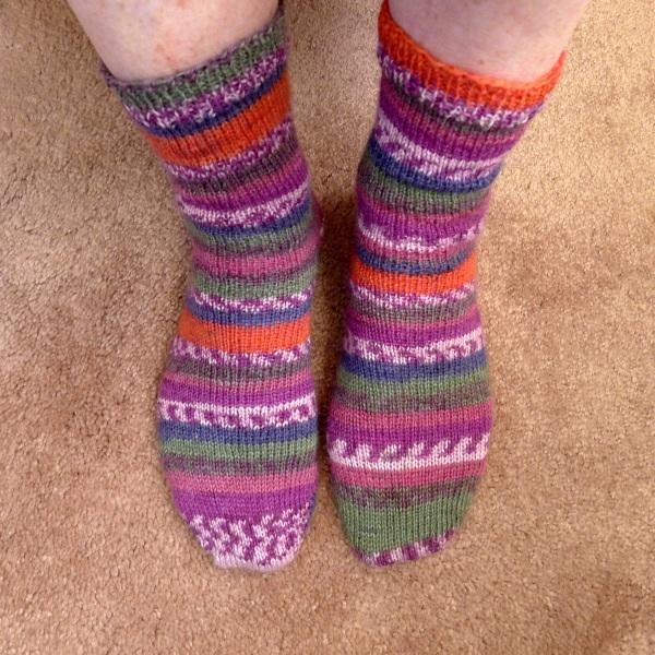 Patterned socks being worn