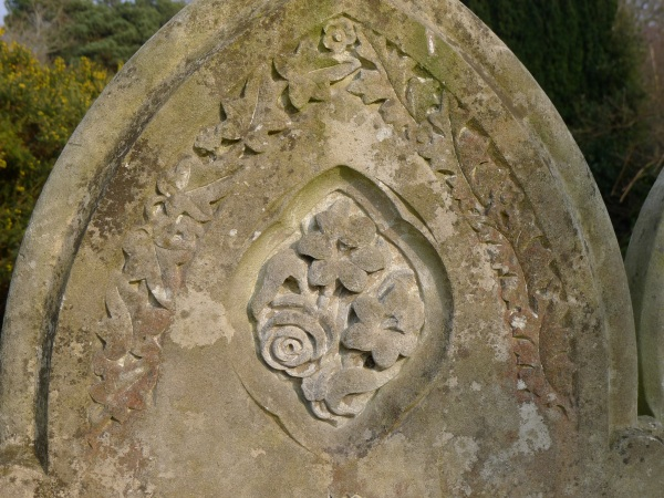 Carved headstone