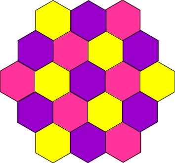 3 colour hexagons