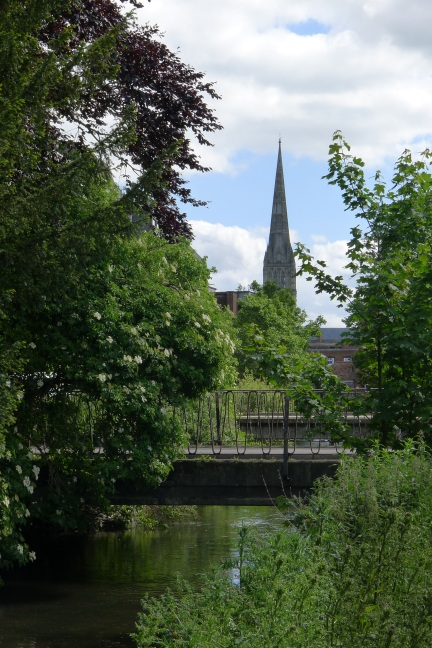 Cathedral spire from river