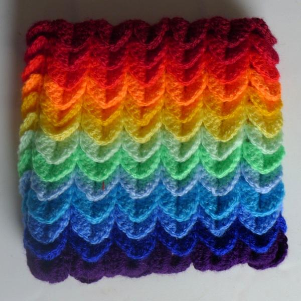 Rainbow cosy front