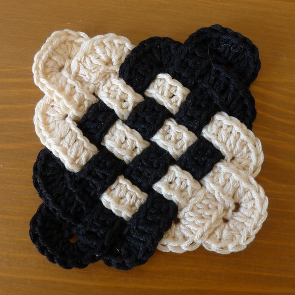 Black and cream coaster
