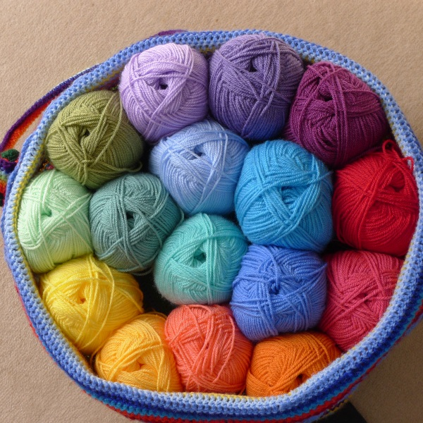 All the yarn for the body of the blanket
