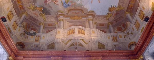 Part of trompe d'oeil ceiling