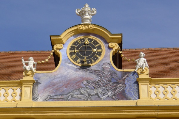 Justice painting with clock