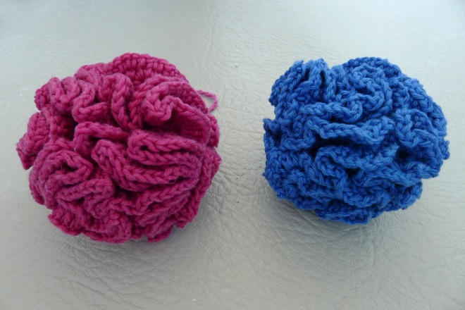 Blue and pink puff