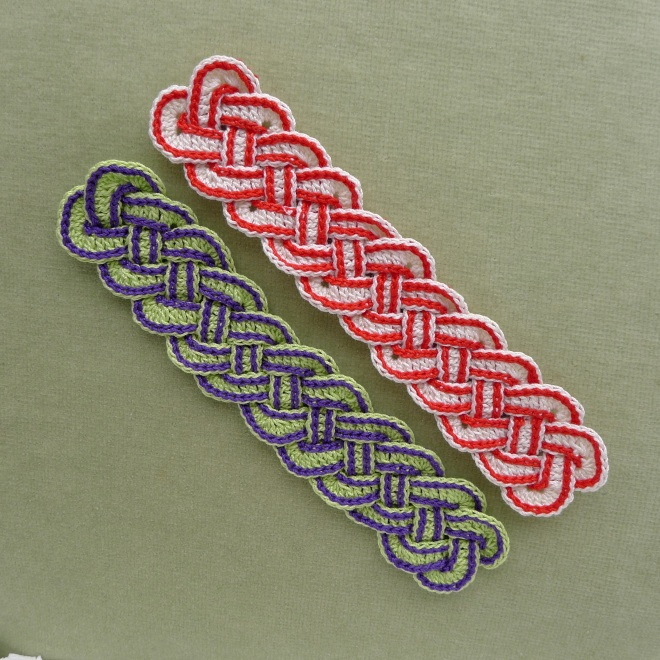 Two Celtic bookmarks with added slip stitches