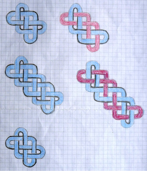 Drawings of different plaits