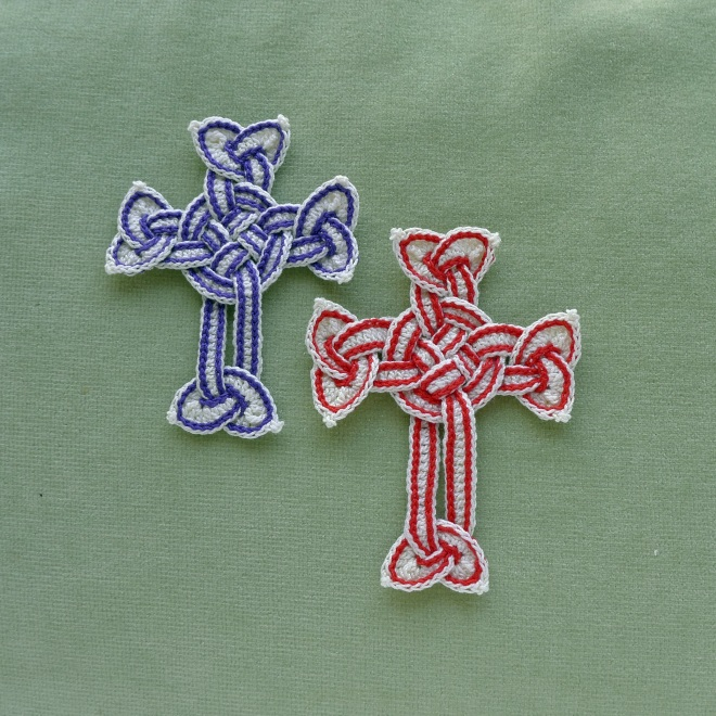 Celtic crosses with slip stitches