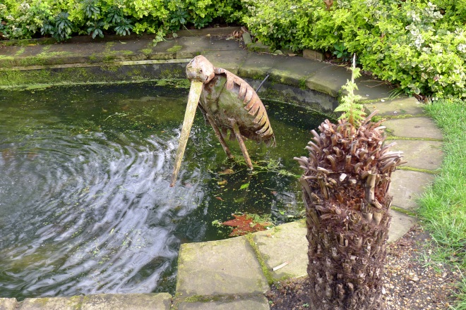Ornamental figure in pond