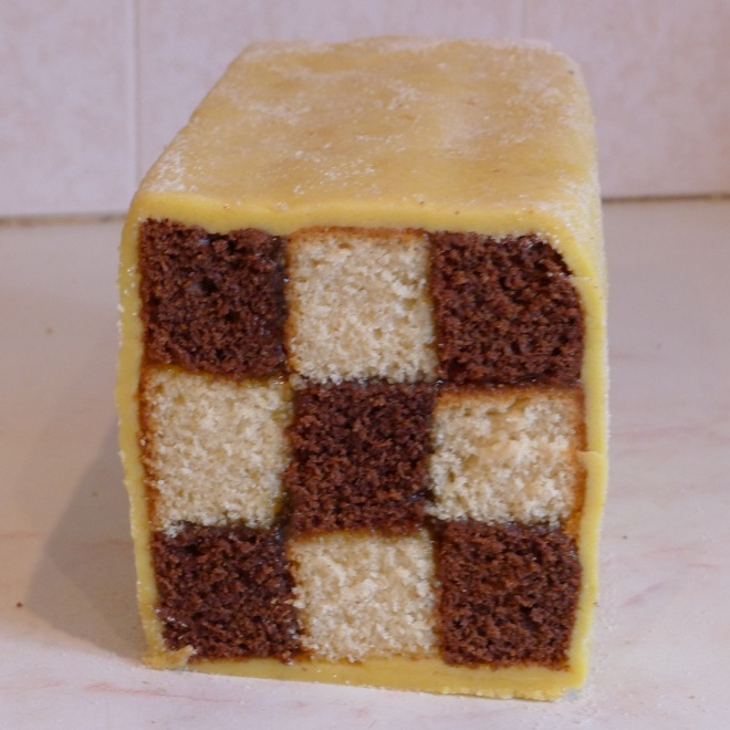 Battenberg cake closer
