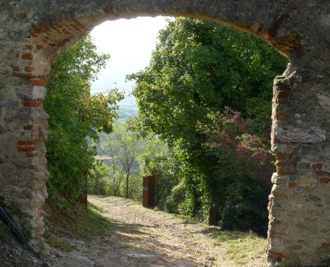 View through old arch at Durnstein