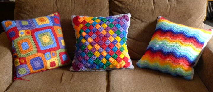 fronts of three cushions