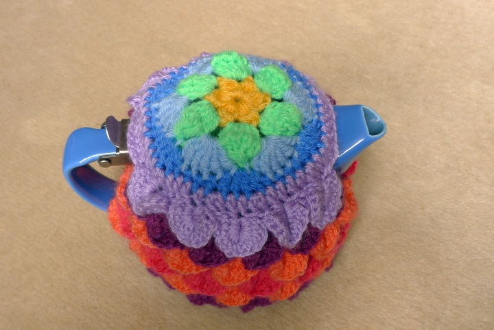 teapot with cosy from above