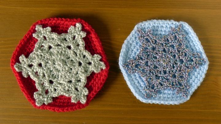 Two sparkly coasters