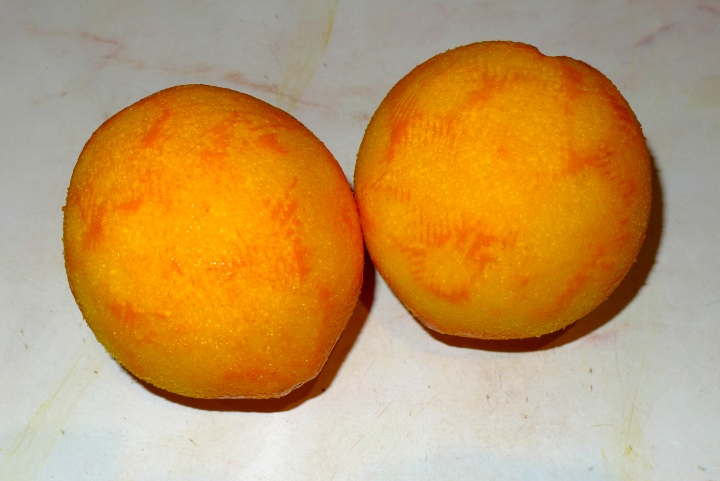 two zested oranges