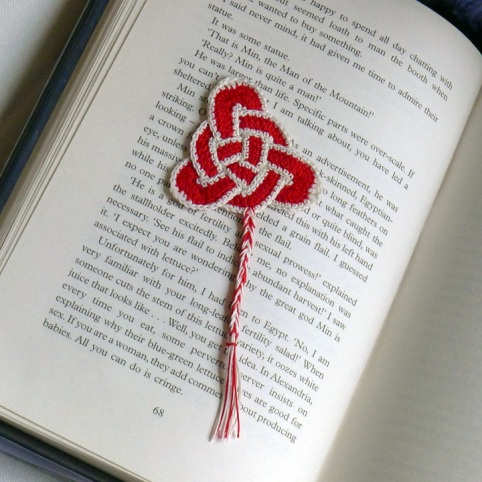 triquetra bookmark in book