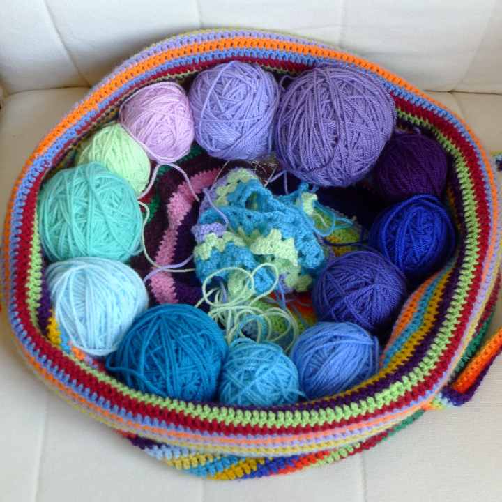 yarn would into balls and arranged