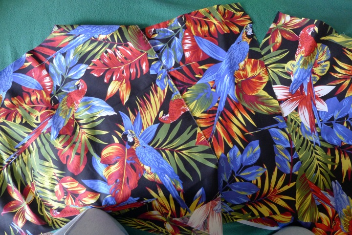 fabric with parrots