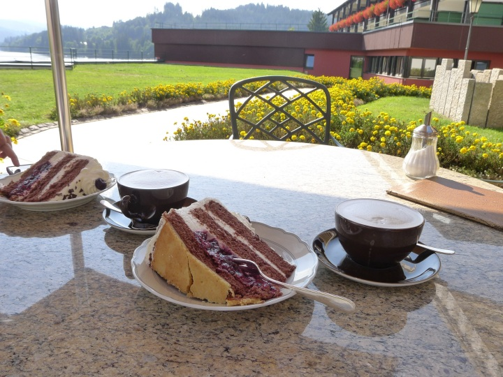 cake and coffee by the lake