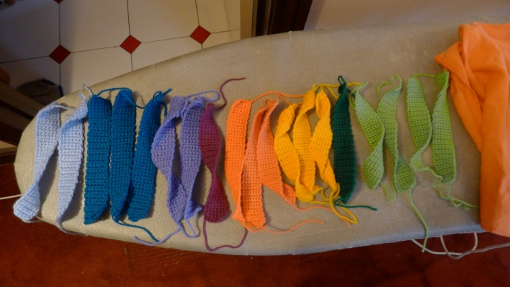 ironed many colour pieces
