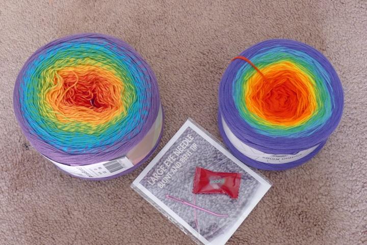 2 cakes of yarn from Hobbi