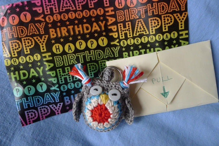 key-ring, card and wrapping paper