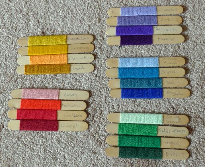 chosen colours on sticks