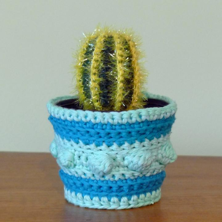 crochet cactus in pot with crochet cover