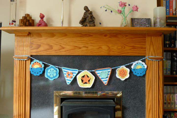 summer bunting in place