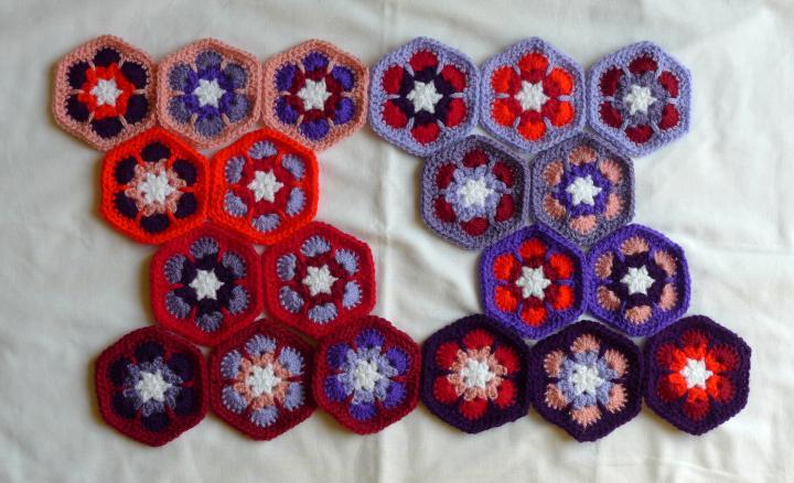 red/purple hexagons in order