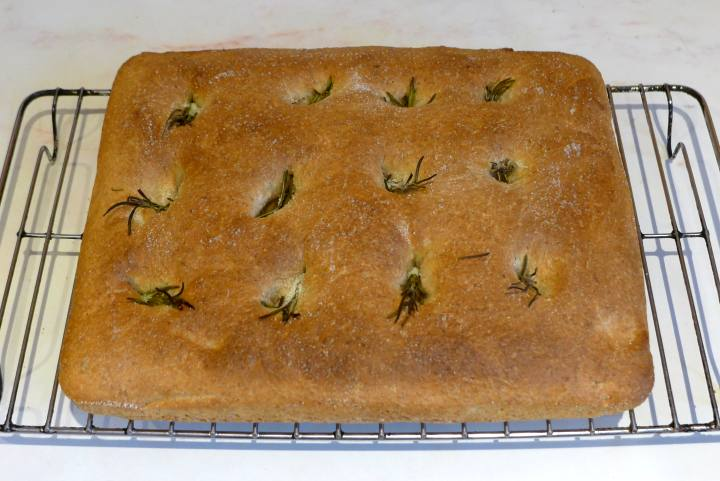 focaccia fresh from oven