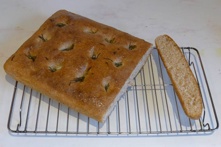 focaccia oiled and cut
