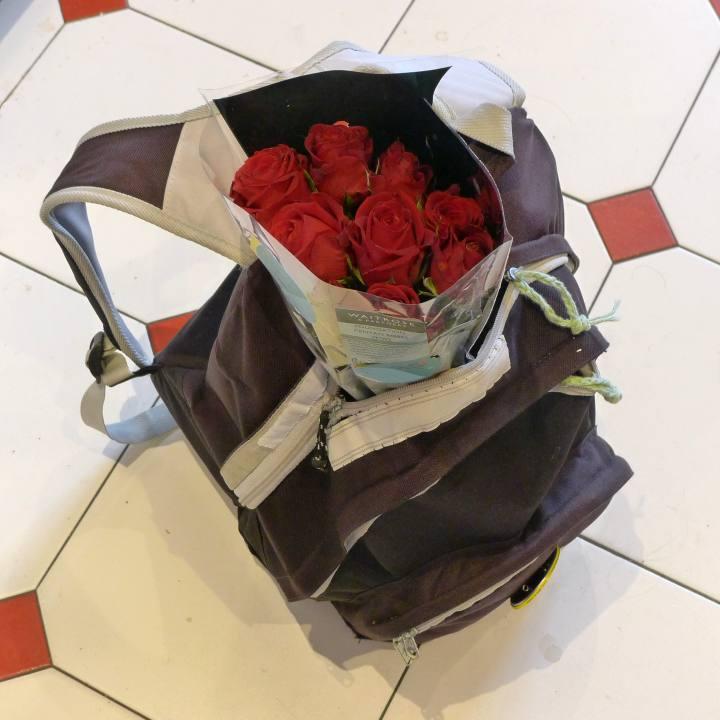 flowers in rucksack